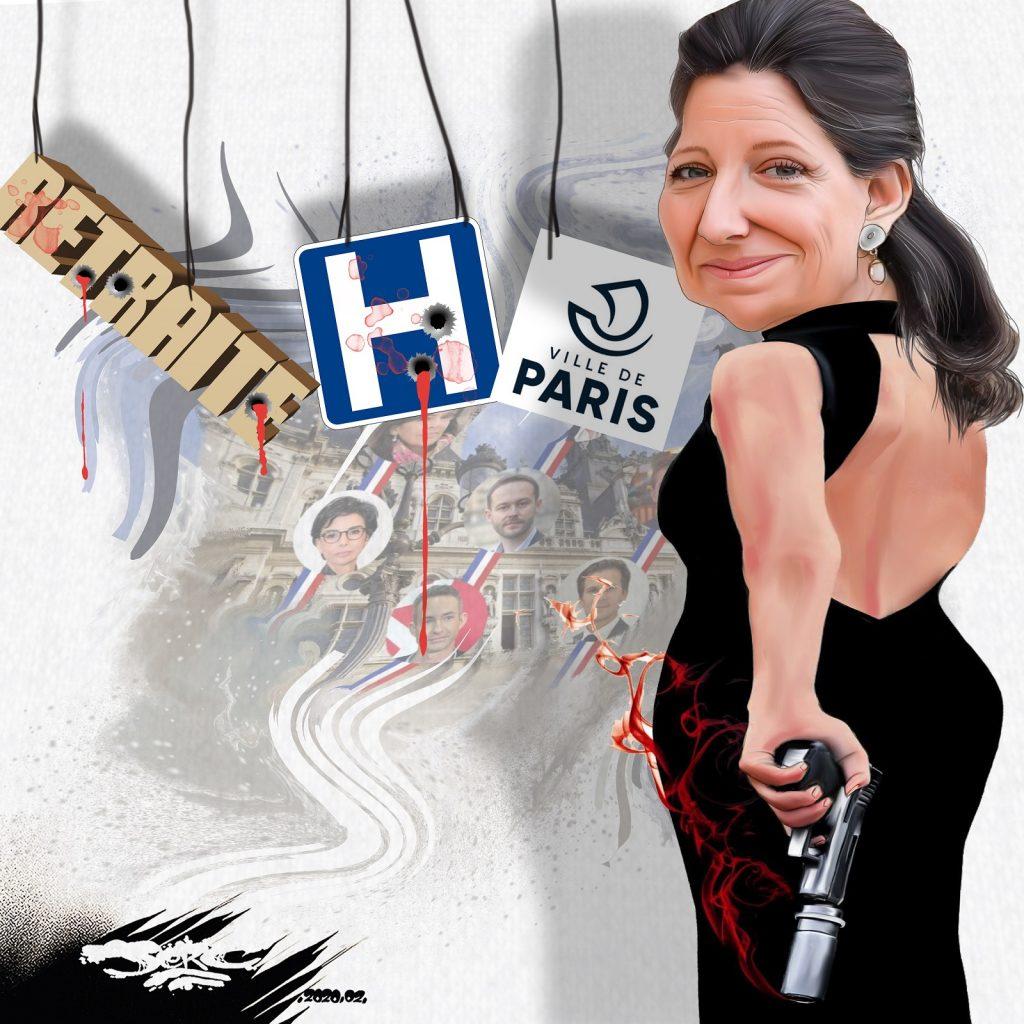 dessin d'actualité humoristique de Jerc sur la candidature d'Agnès Buzyn après la démission de Benjamin Griveaux suite à la diffusion d'une vidéo sexuelle et les élections municipales à paris en 2020