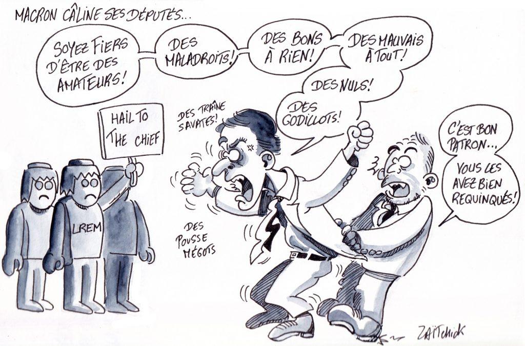 dessin de Zaïtchick sur Emmanuel Macron haranguant Les députés Playmobil de LREM