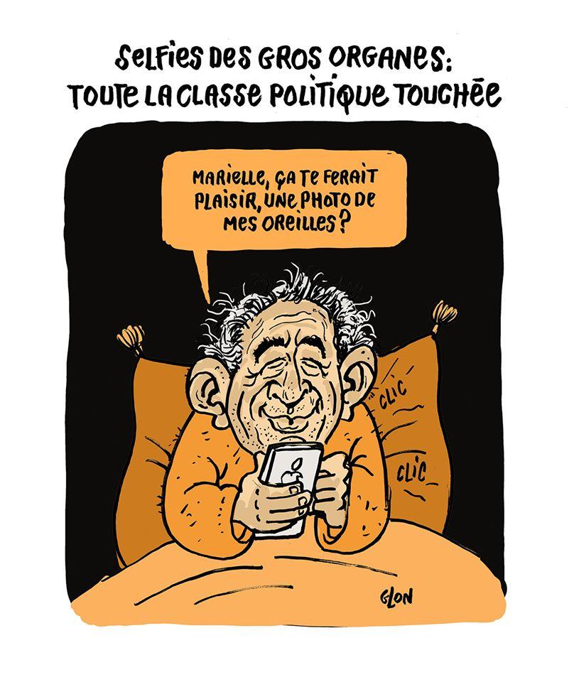 dessin humoristique de Glon sur la sextape de François Bayrou et les sextos de gros organes