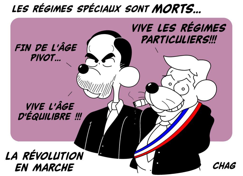 dessin d'humour de Chag sur la réforme des retraites et l'âge pivot