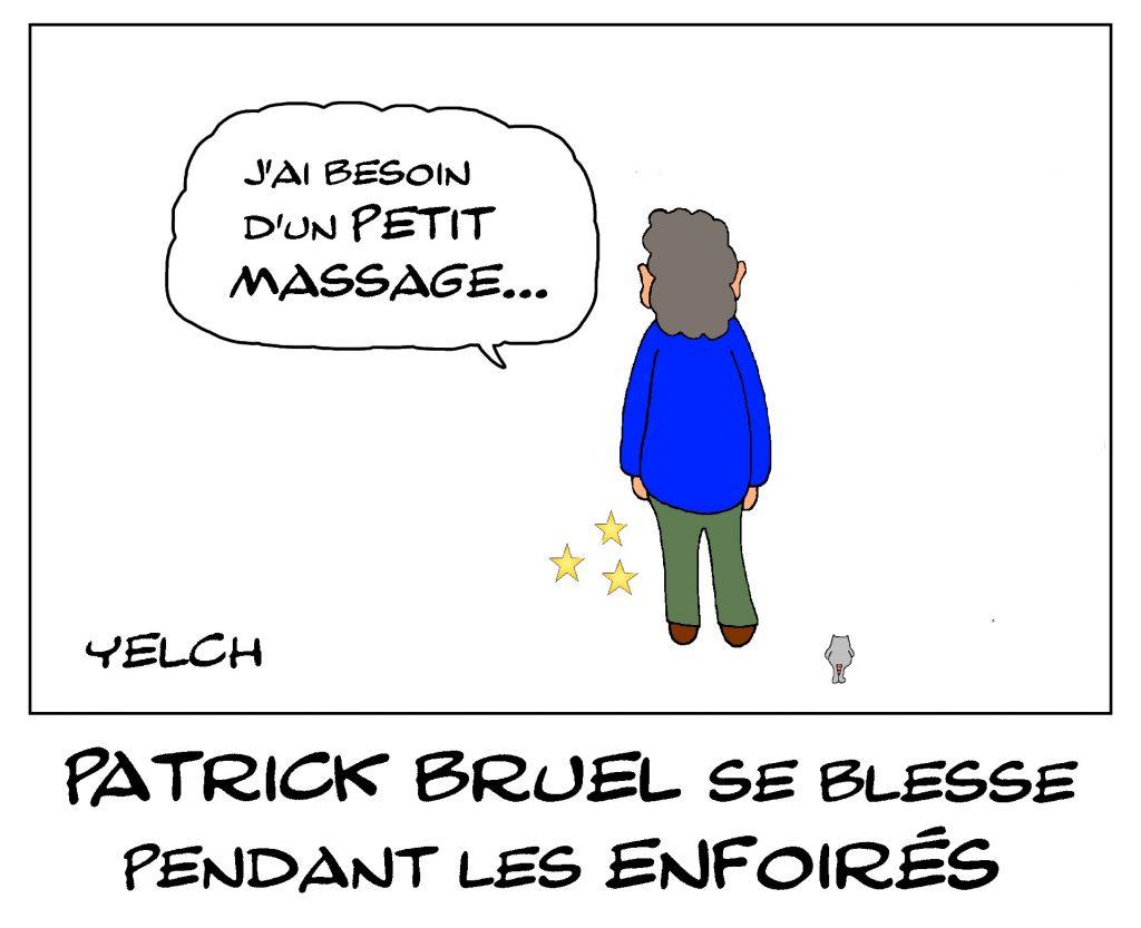 dessin de Yelch sur la blessure de Patrick Bruel pendant Les Enfoirés