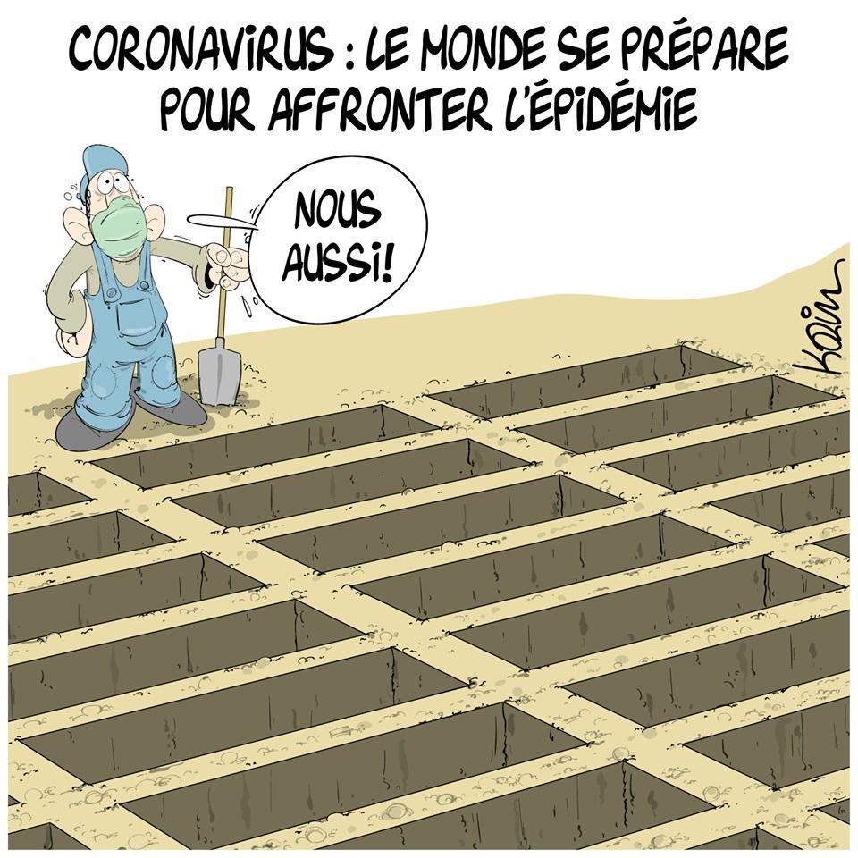 dessin d'actualité humoristique de Karim sur l'épidémie à coronavirus qui s'est déclarée en Chine à Wuhan et la préparation de l'Algérie