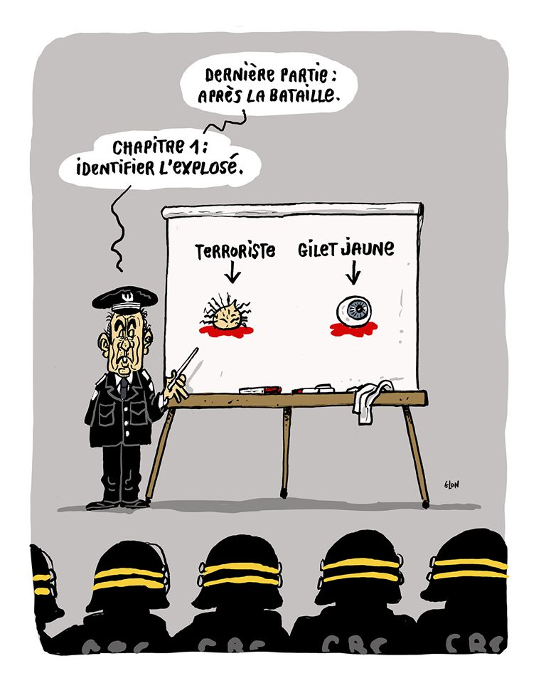 dessin humoristique de Glon sur les violences policières et la formation des forces de l'ordre