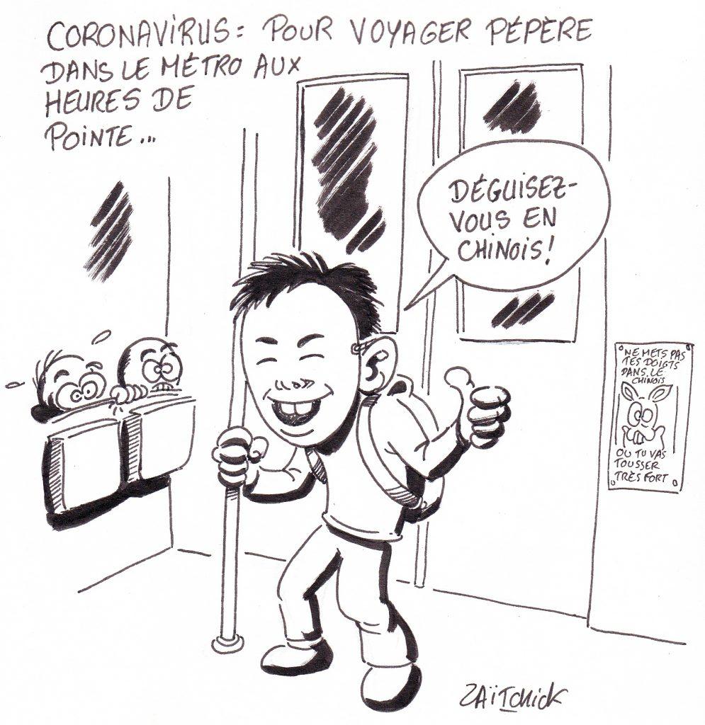 dessin de Zaïtchick sur un voyageur du métro déguisé en Chinois pour avoir de la place
