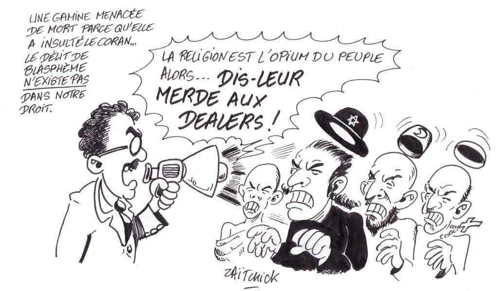 dessin de Zaïtchick sur Groucho envoyant sur les roses un rabbin, un imam, un curé et un moine bouddhiste