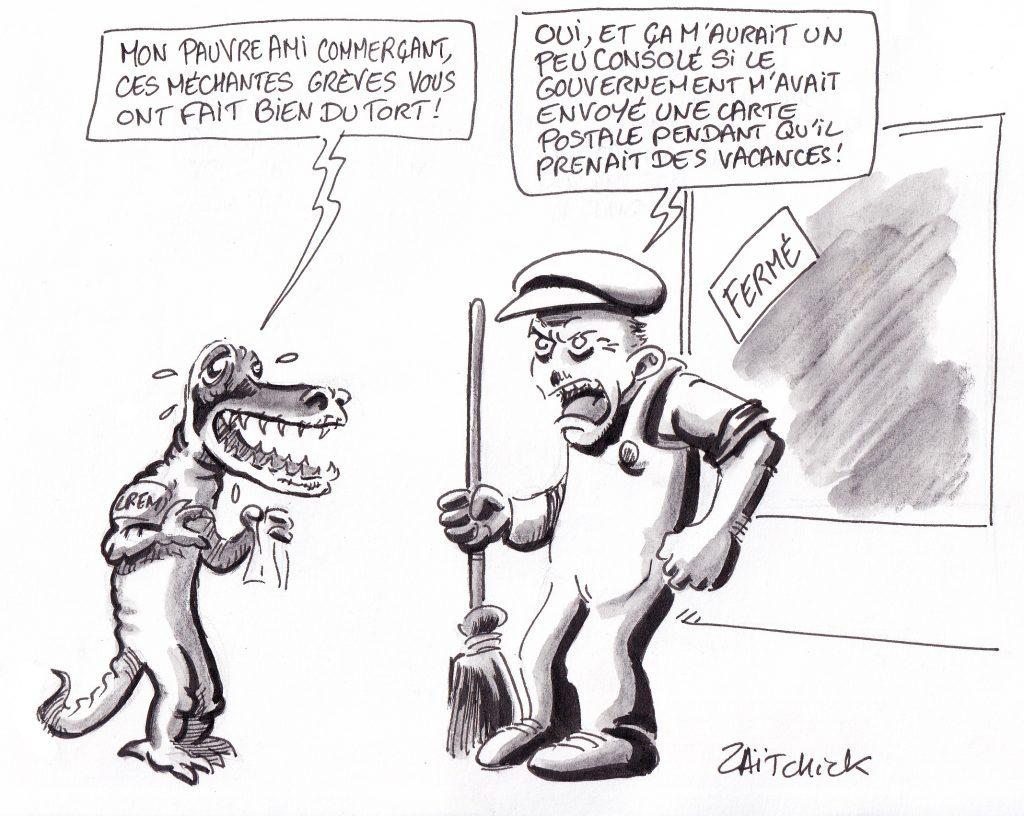 dessin humoristique de Zaïtchick sur LREM et les pertes commerciales pendant les grèves