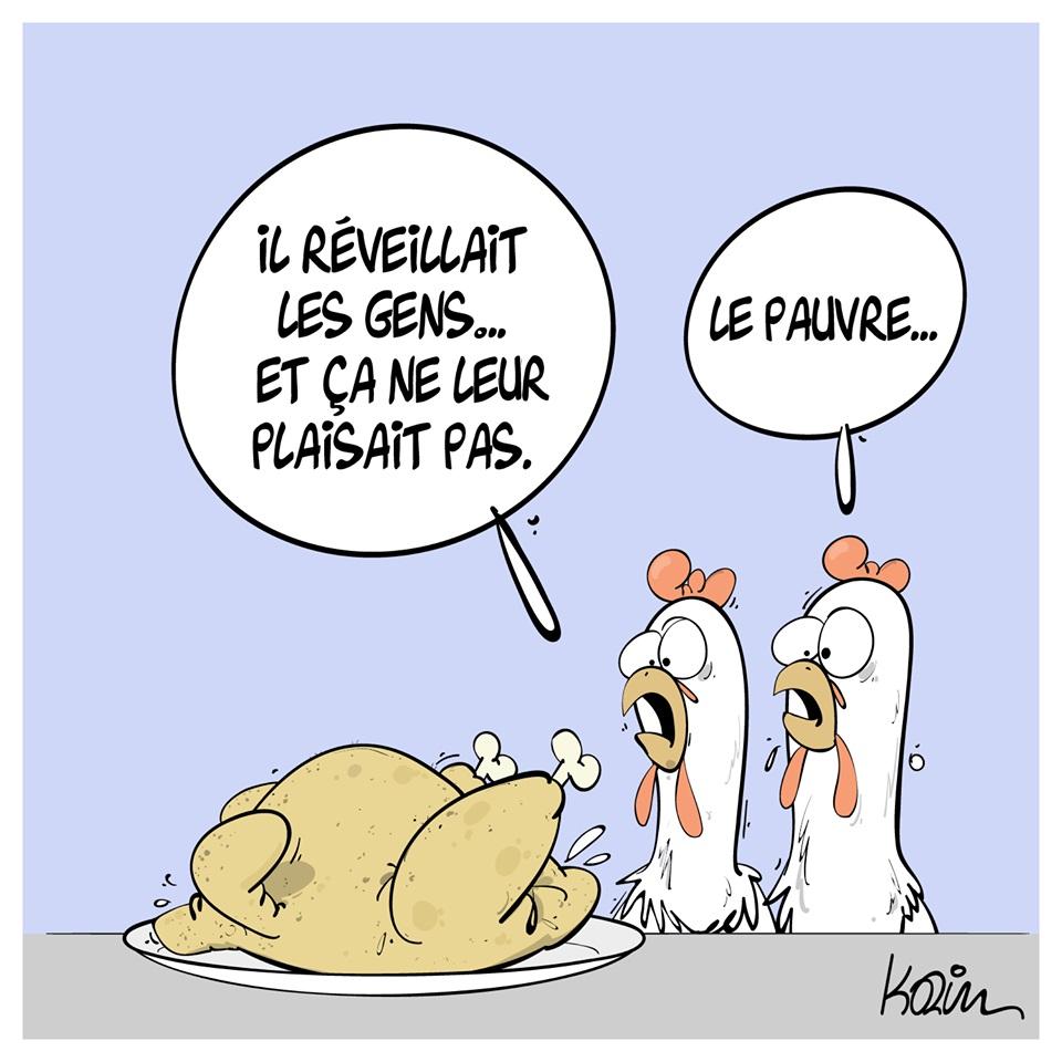dessin d'actualité humoristique de Karim sur Maurice le coq et les bruits de la ferme