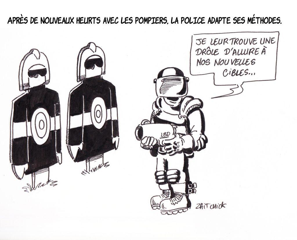 dessin de Zaïtchick sur un policier qui s'entraîne sur des cibles à l'effigie de pompiers
