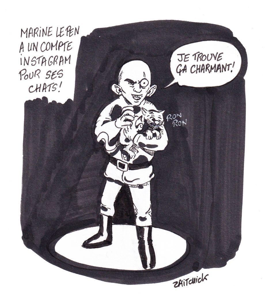 dessin de Zaïtchick sur le compte Instagram des chats de Marine Le Pen et Blofeld caressant un chat