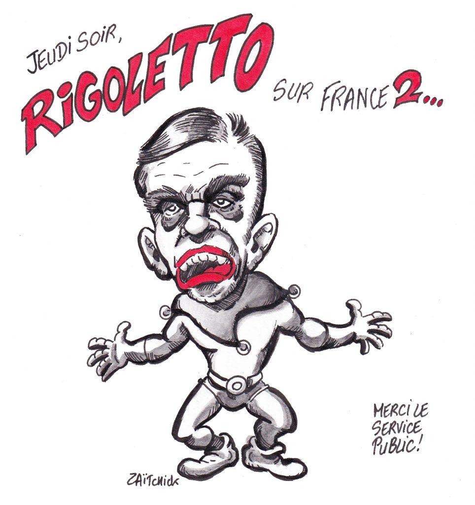 dessin de Zaïtchick sur François Fillon en clown tragique sur France 2