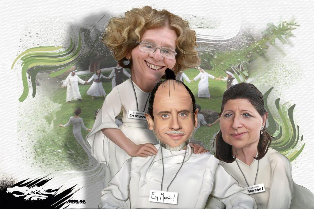 dessin d'actualité humoristique de Jerc sur LREM, véritable secte politique