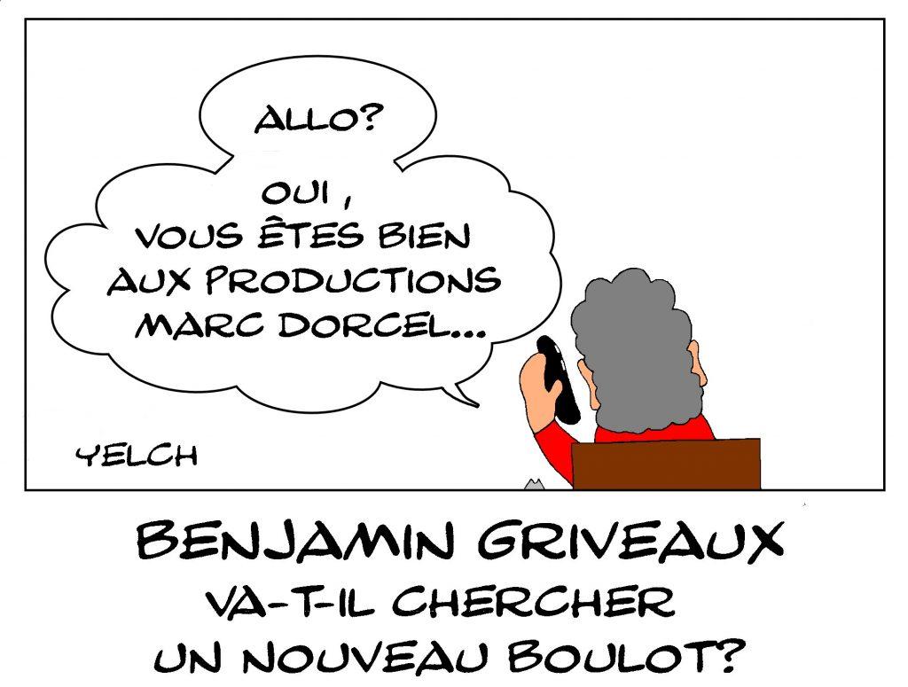 dessin de Yelch sur la démission de Benjamin Griveaux suite à la diffusion d'une vidéo sexuelle et les élections municipales à paris en 2020 et ses nouvelles recherches d'emploi