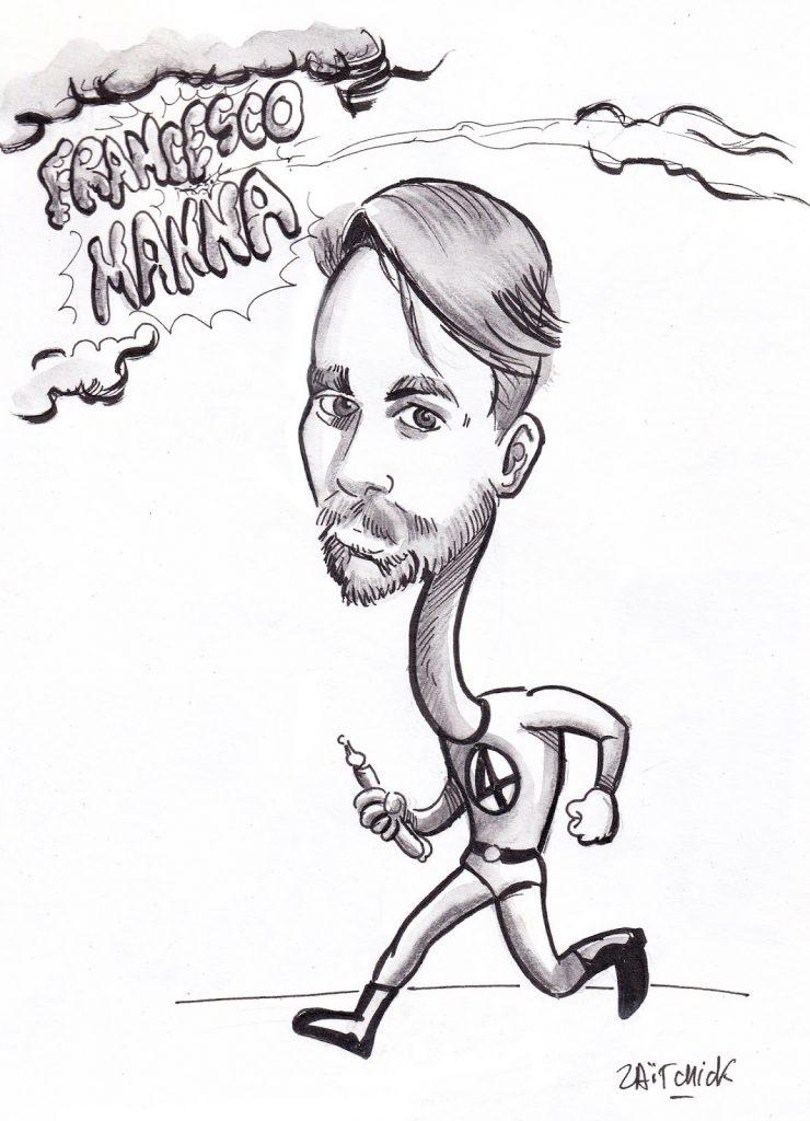 dessin humoristique de Zaïtchick sur la venue de Francesco Manna à Clermont-Ferrand