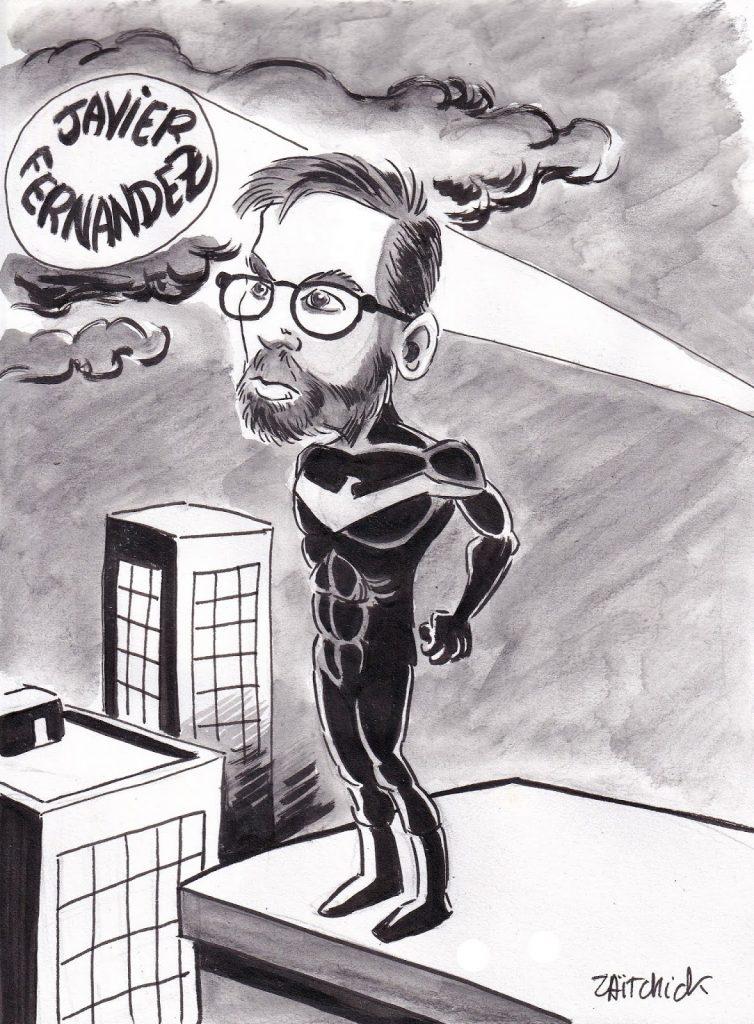 dessin humoristique de Zaïtchick sur la venue de Javier Fernandez à Clermont-Ferrand