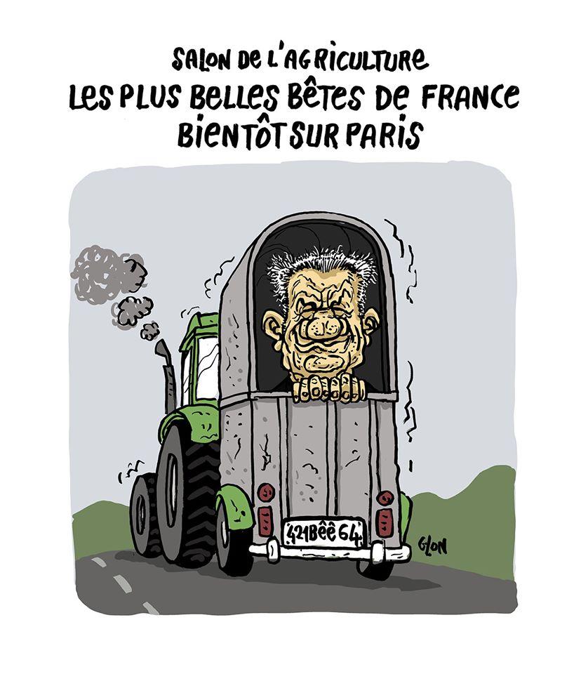 dessin humoristique de Glon sur Jean Lassalle et le salon de l'agriculture de Paris