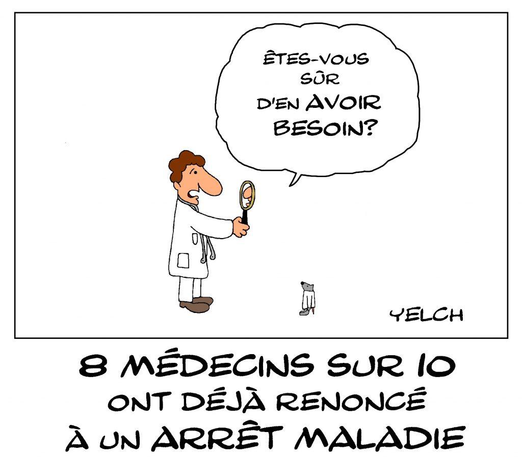 dessin de Yelch sur les arrêts maladie des professionnels de santé