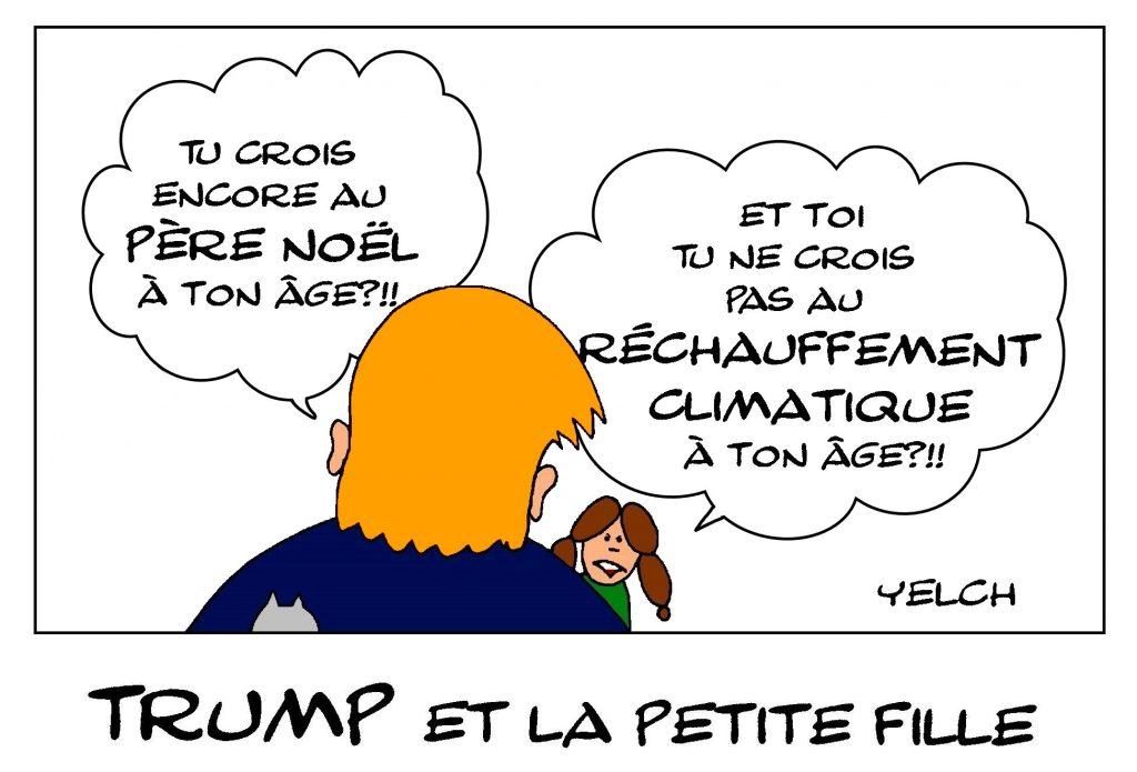 dessin de Yelch dessin de Yelch sur Greta Thunberg et Donald Trump discutant du réchauffement climatique