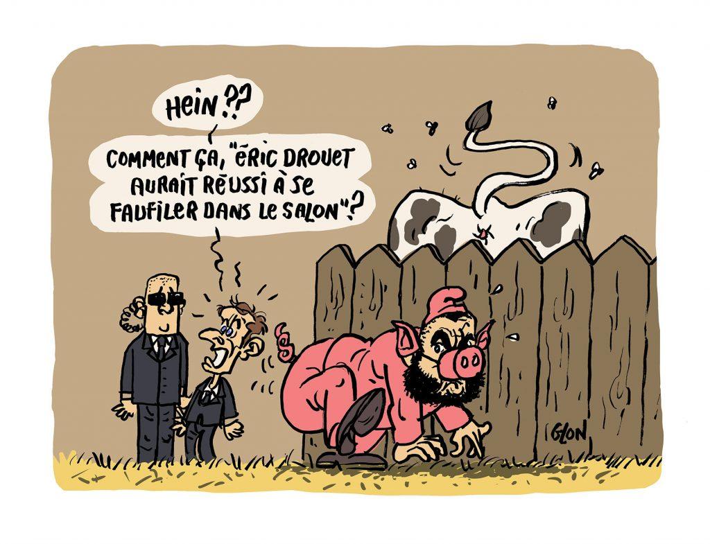 dessin humoristique de Glon sur le salon de l'agriculture de Paris et la présence indésirable d'Éric Drouet