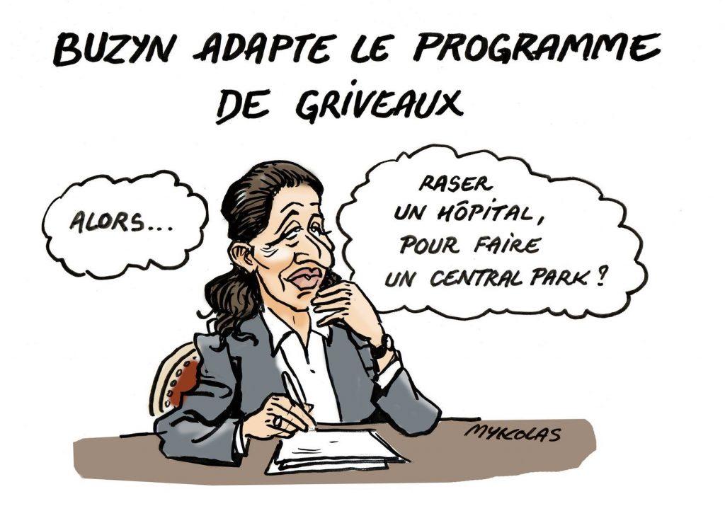 dessin d'actualité humoristique de Mykolas sur la candidature d'Agnès Buzyn à la Mairie de Paris et la casse des services hospitaliers