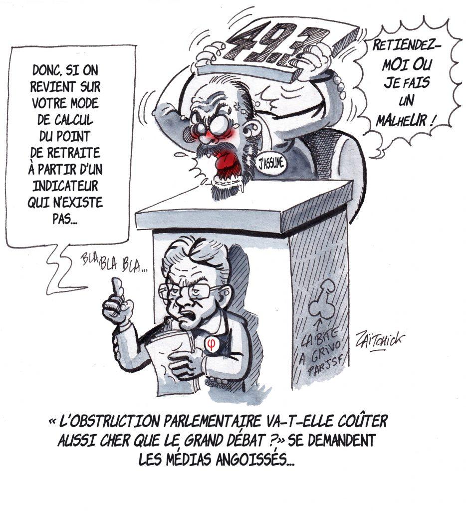 dessin de Zaïtchick sur Jean-Luc Mélenchon et Édouard Philippe à l'Assemblée nationale lors de l'examen de la réforme des retraites
