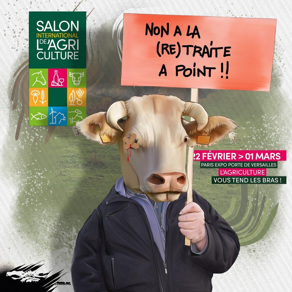 dessin d'actualité humoristique de Jerc sur le Salon de l'Agriculture de Paris et les français pris pour des vaches à lait