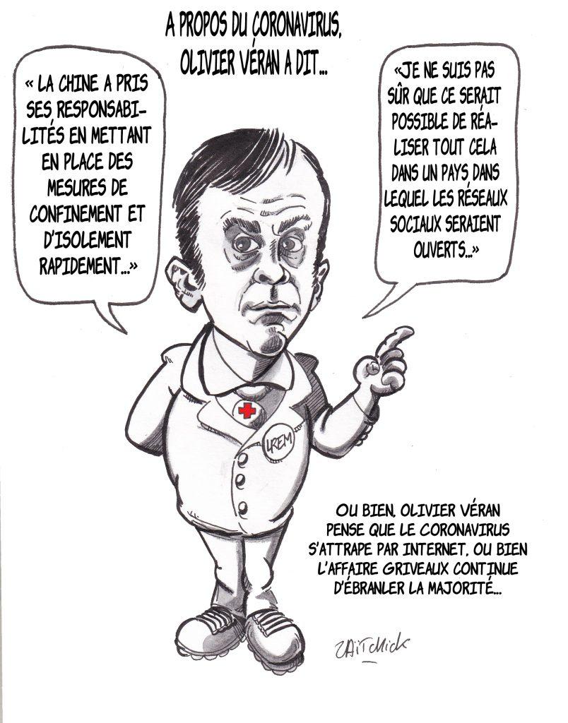 dessin de Zaïtchick sur Olivier Véran prétendant que les réseaux sociaux favorisent la contagion par le Coronavirus