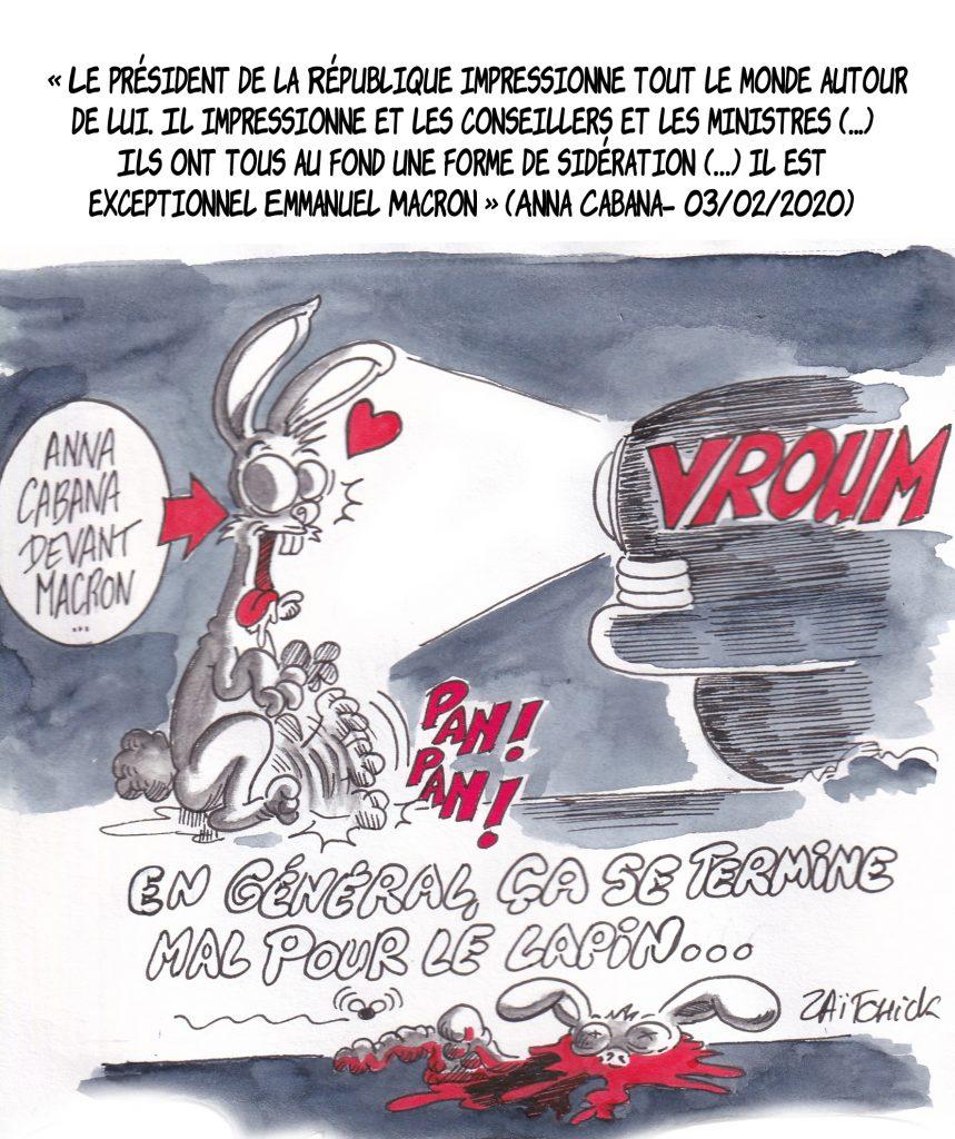 dessin de Zaïtchick sur un lapin en état de sidération écrasé par une voiture en parallèle avec Anna Cabana en admiration devant Emmanuel Macron