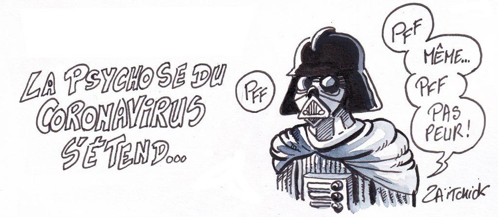 dessin humoristique de Zaïtchick sur la psychose déclenchée par l'épidémie de coronavirus Covid-19 et Dark Vador