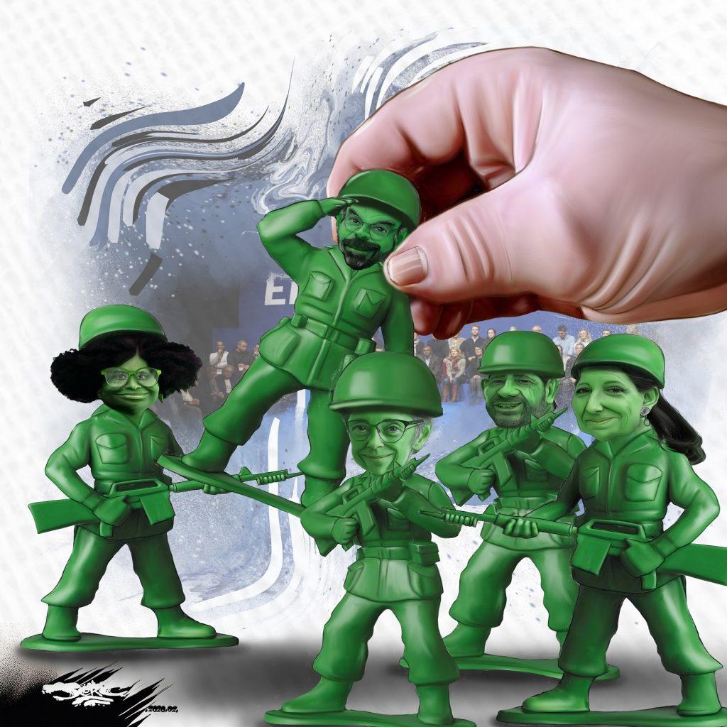 dessin d'actualité humoristique de Jerc sur les petits soldats de la Macronie