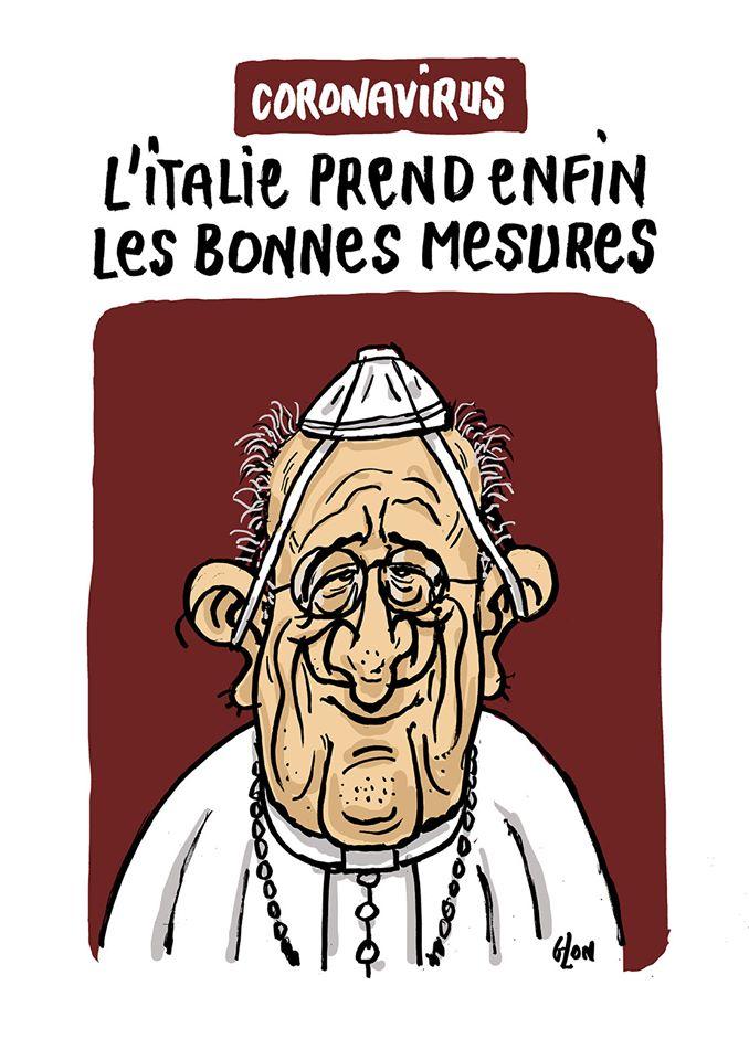 dessin humoristique de Glon sur l'Italie confrontée à l'épidémie de coronavirus Covid-19 et le Pape François