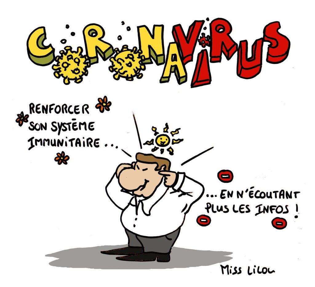 dessin de Miss Lilou sur la méthode pour renforcer son système immunitaire face à l'épidémie de coronavirus en n'écoutant plus les infos