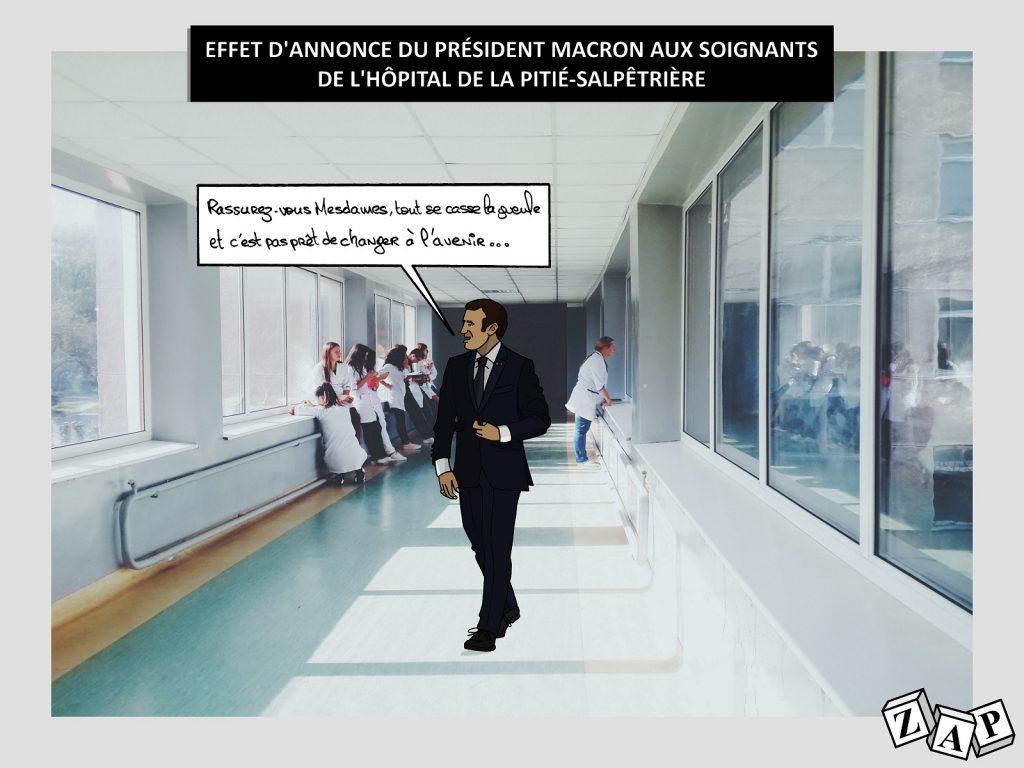 dessin d'actualité de Zap sur la visite d'Emmanuel Macron à l'hôpital de la Pitié-Salpêtrière en pleine crise du Covid-19..