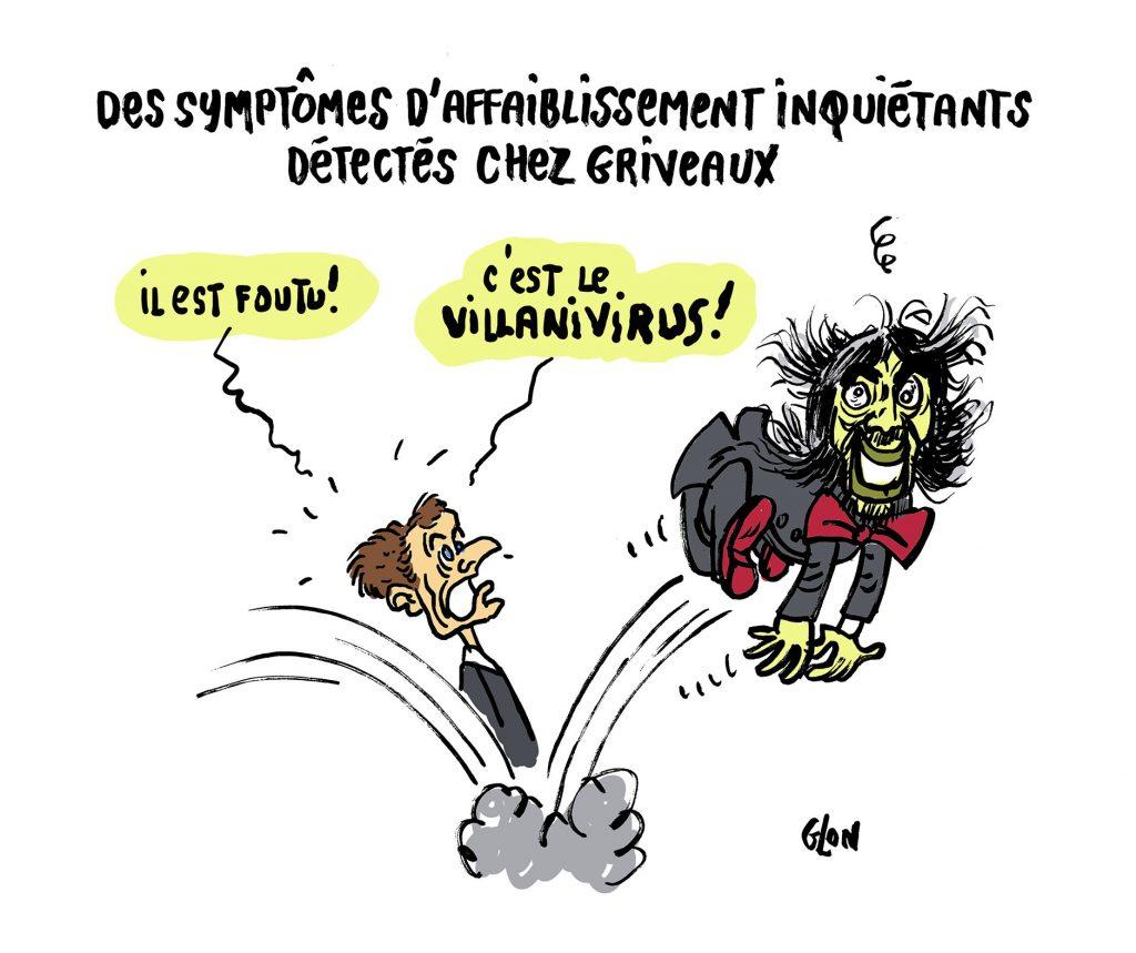 dessin humoristique de Glon sur l'épidémie à coronavirus qui s'est déclarée en Chine à Wuhan et les élections municipales avec la candidature de Benjamin Griveaux opposé à Cédric Villani