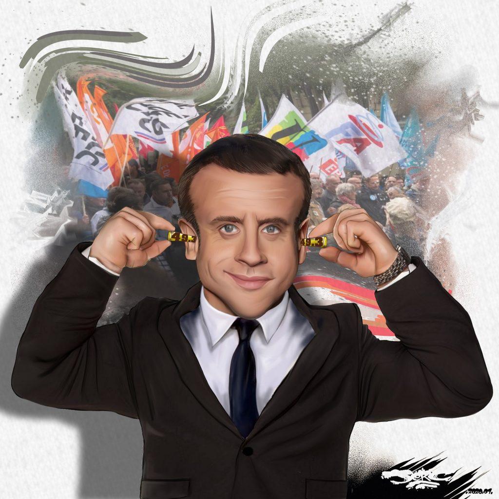 dessin d'actualité humoristique de Jerc sur Emmanuel Macron et l'utilisation de l'article 49.3 malgré la contestation populaire