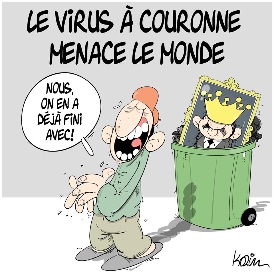 dessin d'actualité humoristique de Karim sur l'épidémie à coronavirus qui s'est déclarée en Chine à Wuhan et l'Algérie débarrassée de son virus à couronne Abdelaziz Bouteflika