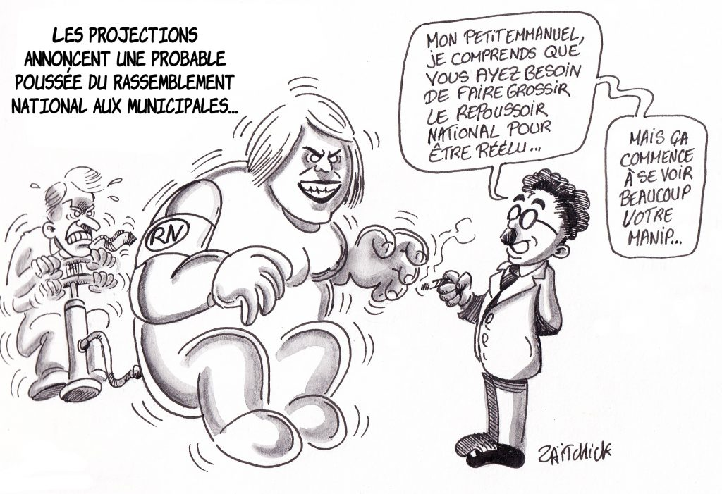 dessin de Zaïtchick sur Macron qui fait grossir Le Pen pour être réélu