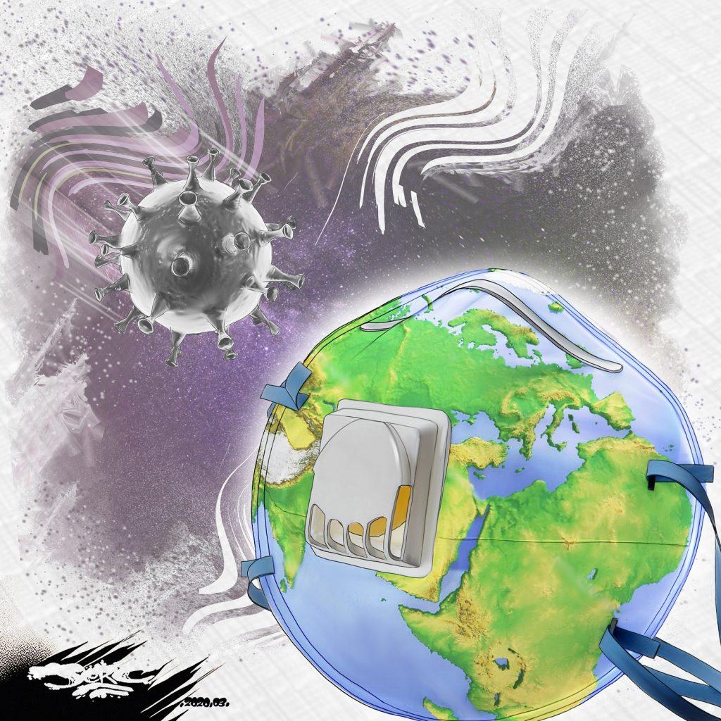dessin d'actualité humoristique de Jerc sur la Terre face à la pandémie de coronavirus