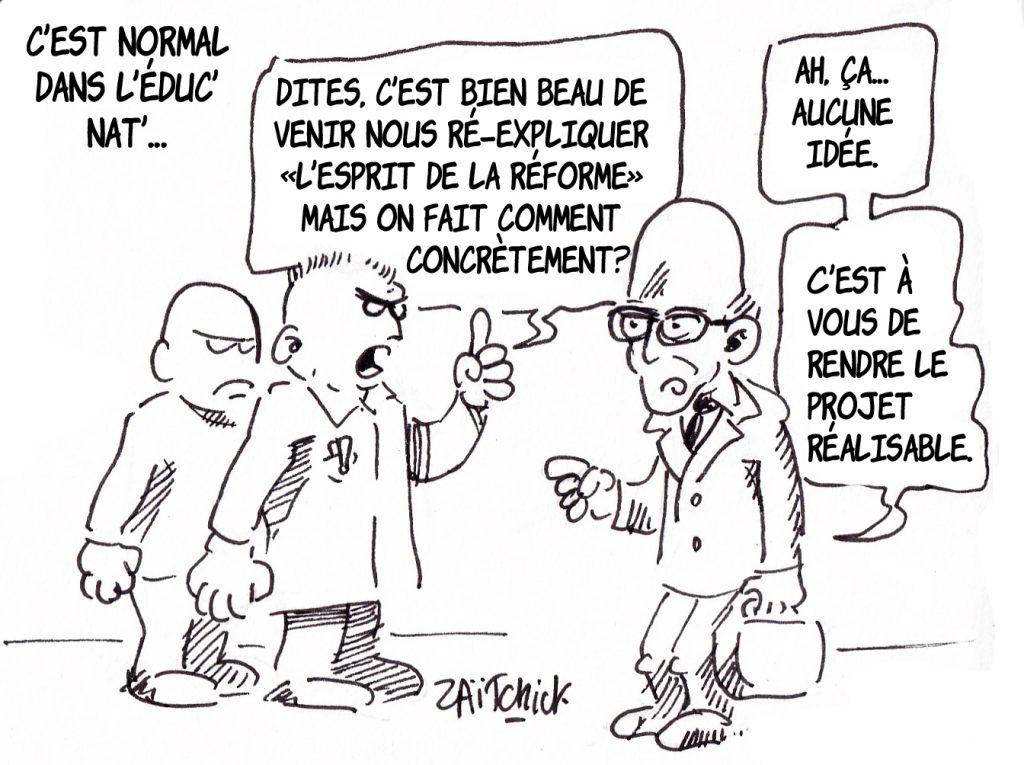 dessin humoristique de Zaïtchick sur la réforme de l'enseignement et Jean-Michel Blanquer