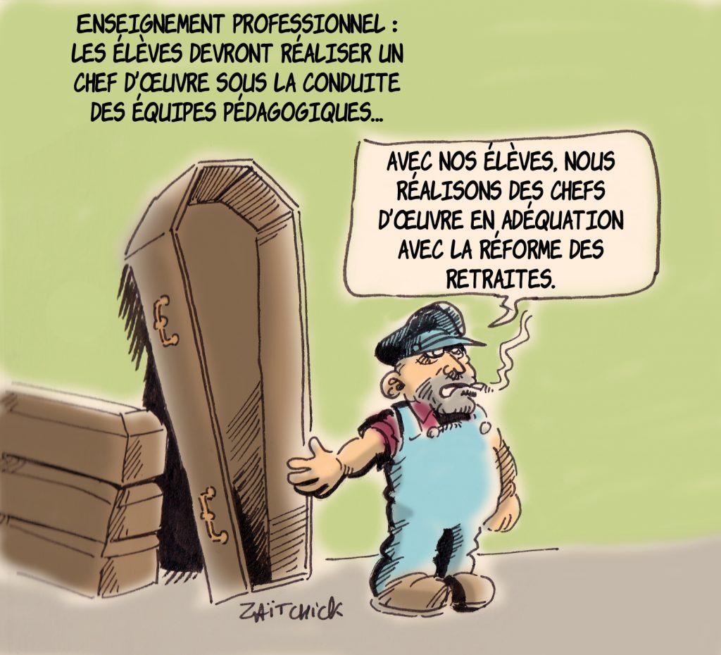dessin humoristique de Zaïtchick sur les chefs-d'œuvre de la réforme de l'enseignement professionnel