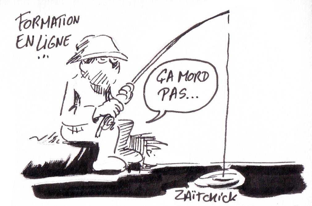 dessin humoristique de Zaïtchick sur la formation en ligne