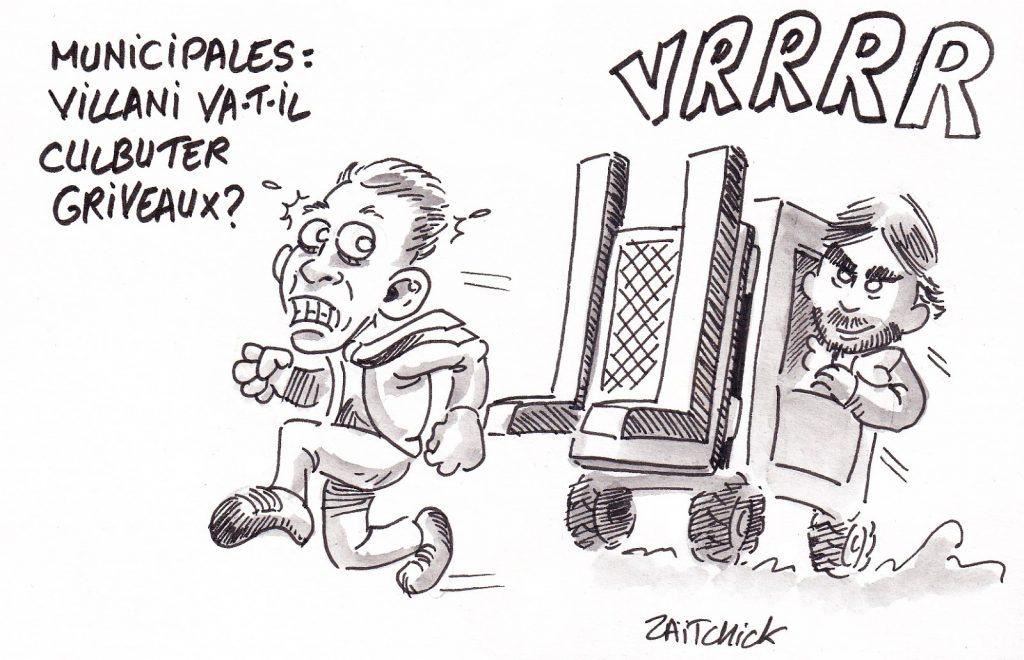 dessin de Zaïtchick sur Benjamin Griveaux menacé par Cédric Villani