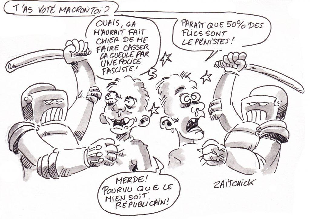 dessin de Zaïtchick sur des manifestants tabassés par des flics lepénistes