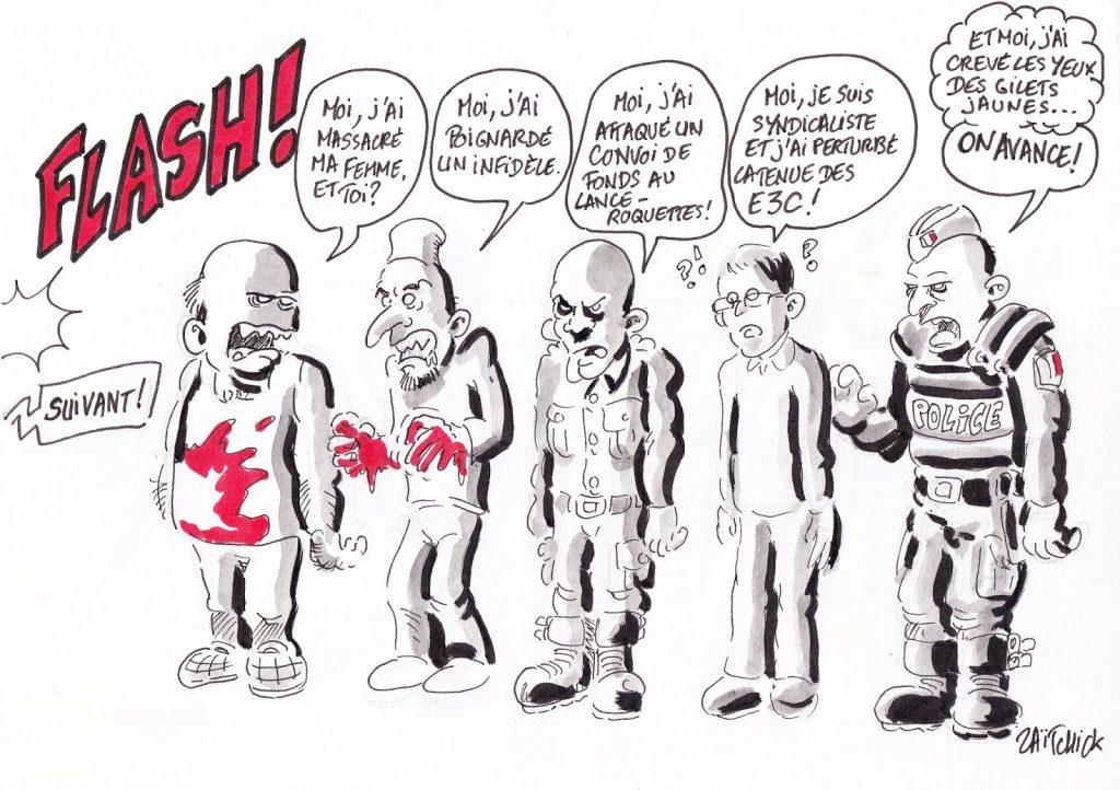 dessin de Zaïtchick sur des syndicalistes de l'éducation nationale convoqués au commissariat