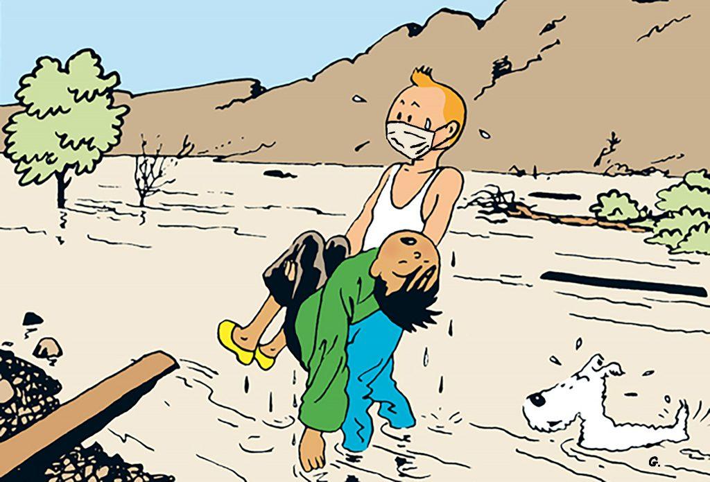 dessin humoristique de Glon sur Tintin et l'épidémie à coronavirus qui s'est déclarée en Chine à Wuhan