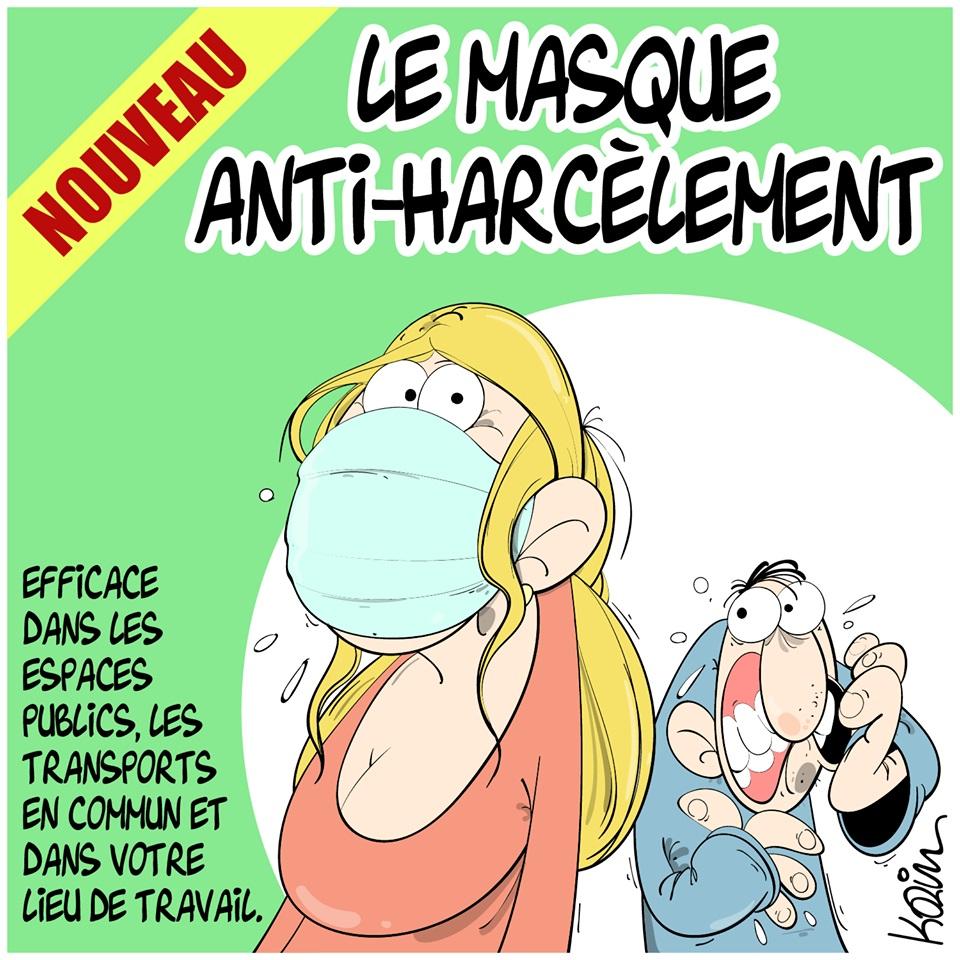 dessin d'actualité humoristique de Karim sur l'épidémie à coronavirus qui s'est déclarée en Chine à Wuhan, les masques de protection et le harcèlement
