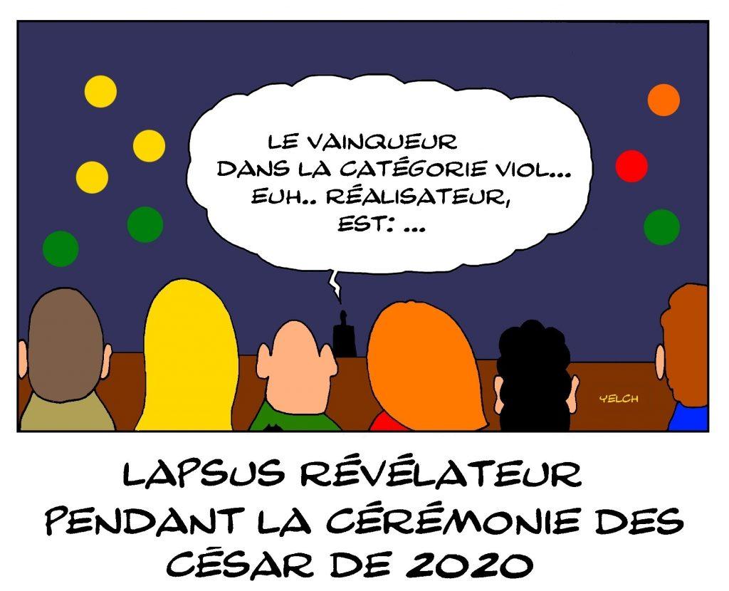 dessin de Yelch sur les affaires de viol dans le milieu du cinéma et la cérémonie des César 2020