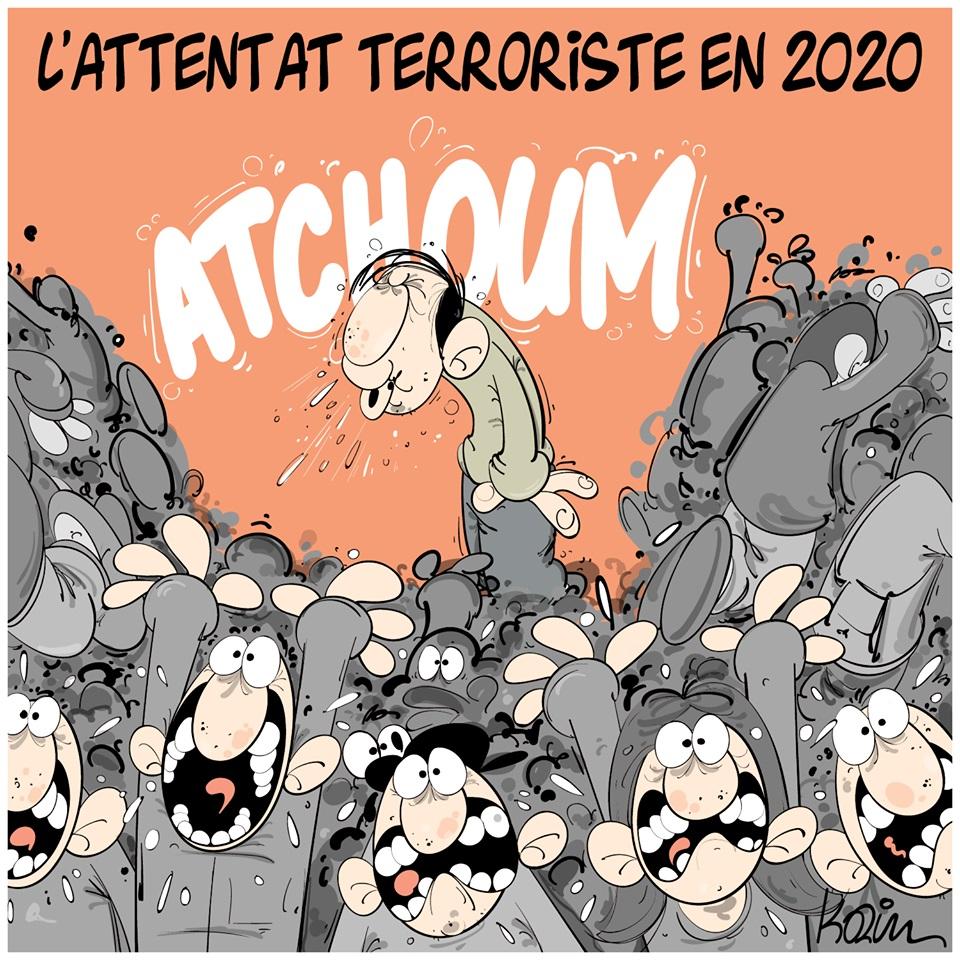 dessin d'actualité humoristique de Karim sur l'épidémie à coronavirus qui s'est déclarée en Chine à Wuhan et les nouveaux attentats terroristes