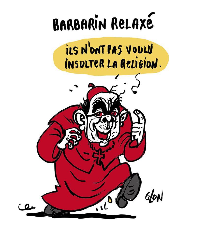 dessin humoristique de Glon sur l'affaire Mila, les propos de Nicole Belloubet et la relaxe de Philippe Barbarin