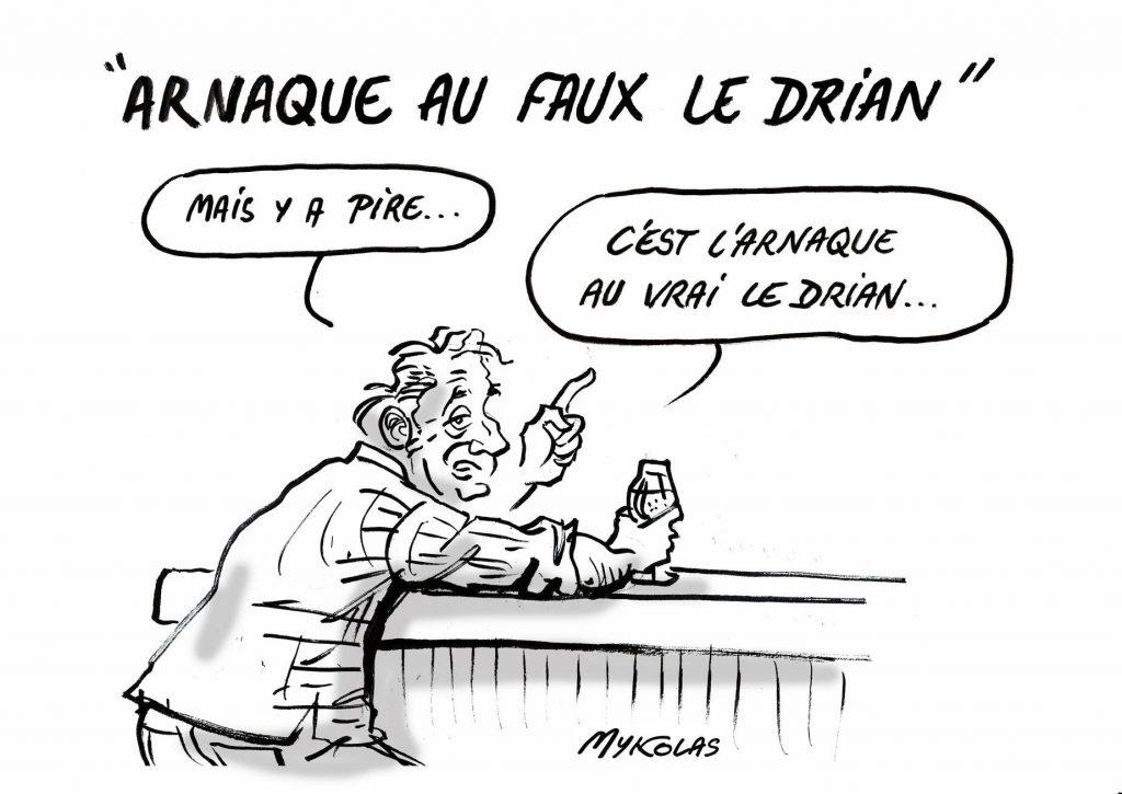 dessin d'actualité humoristique de Mykolas sur l'arnaque au faux Le Drian