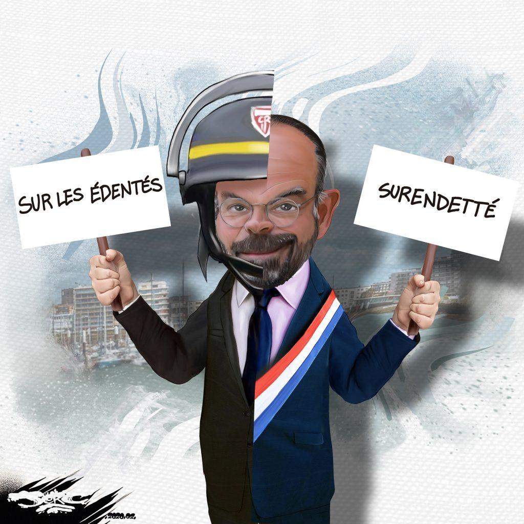 dessin d'actualité humoristique de Jerc sur Édouard Philippe entre violences policières et violences sociales